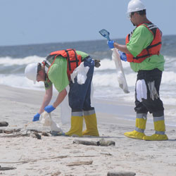 Workers cleaning up the oil spill are exposed to toxic chemicals.