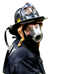Firefighters are at risk from the harmful chemicals emitted during a fire.