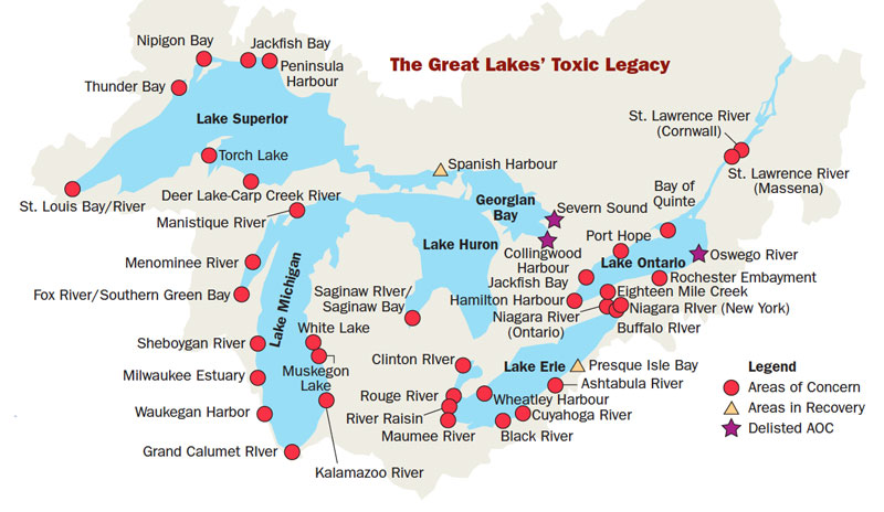 Great Lakes Areas of Concern. Click for full image.